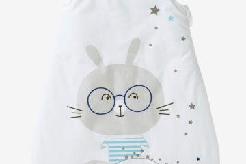 Ärmelloser Baby Schlafsack weiß bedruckt Größe 70Cm von vertbaudet