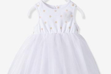 Ärmelloses Babykleid für Mädchen weiß bedruckt/rosa