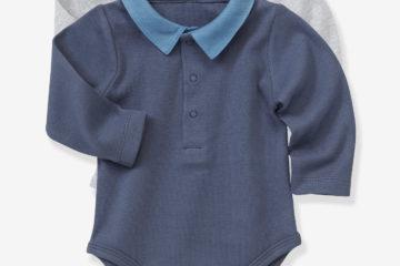 2er-Pack Baby-Bodies mit Polokragen pack grau