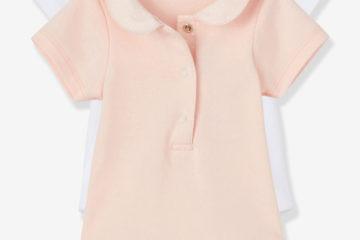 2er-Pack Baby-Bodys mit Bubikragen weiß getupft+rosa getupft