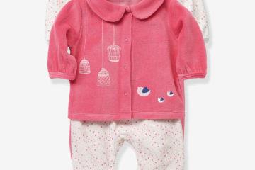 2er-Pack Baby Pyjamas aus Samt rosa/weiß