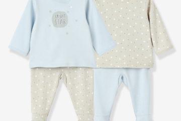 2er-Pack Baby Schlafanzüge aus Baumwolle zartgrün+grau