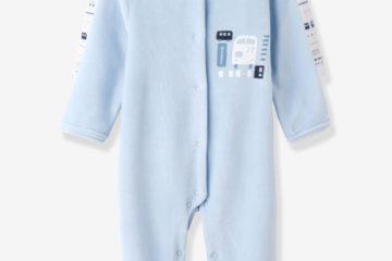 2er-Pack Baby-Strampler aus Samt bedruckt+blau