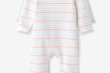 2er-Pack Baby Sweatstrampler gestreift+zartgrün