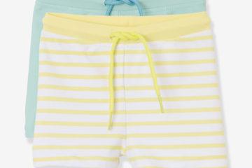2er-Pack Badehosen für Baby Jungen gelb gestreift+grün
