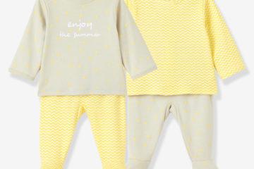 2er-Pack Baumwoll-Schlafanzüge für Babys grau+gelb