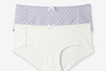 2er-Pack Hüftshortys für die Schwangerschaft violett bedruckt+weiß