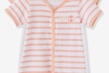 2er-Pack Kurzoveralls für Baby Mädchen weiß bedruckt+rosa gestreift