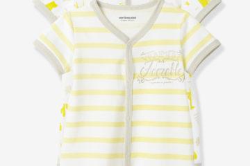 2er-Pack Kurzoveralls für Babys gelb gestreift+weiß bedruckt