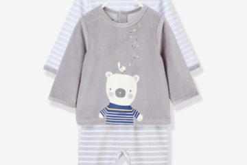 2er-Pack Samt-Pyjamas für Babys blau/grau
