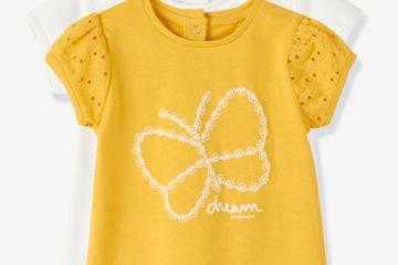 2er-Pack Shirts für Baby Mädchen gelb+wollweiß