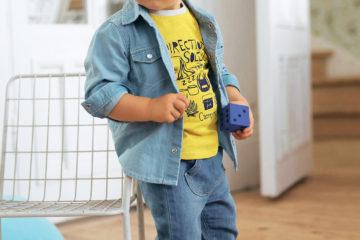 2er-Pack T-Shirts für Jungen gelb+beige gestreift