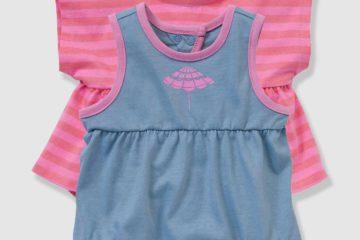 2er-Set Baby Kurzoveralls für Mädchen rosa+blau