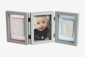 3-teiliger Bilderrahmen mit Abdruck-Set hellgrau von vertbaudet