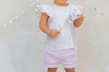 3-teiliges Set für Baby Mädchen rosa bedruckt/beige glanzeffek