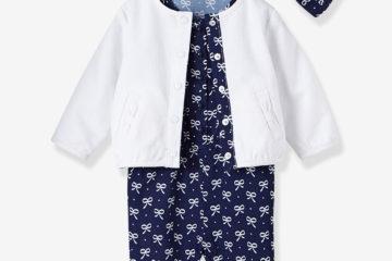 3-teiliges Set für Baby Mädchen weiß+marine bedruckt