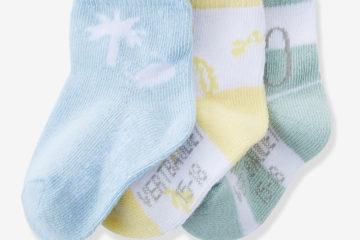 3er-Pack Socken für Baby Jungen gelb+gestreift+hellblau
