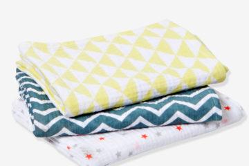 3er-Pack Wickeltücher für Babys bunt/gemustert von vertbaudet