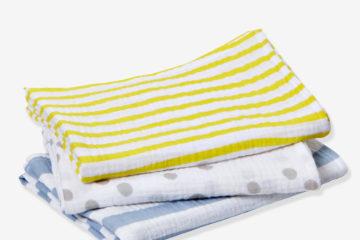 3er-Pack Wickeltücher für Babys bunt/streifen+tupfen von vertbaudet