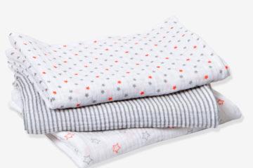 3er-Pack Wickeltücher für Babys grau/streifen+sterne von vertbaudet