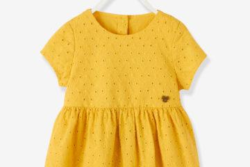Baby-Kleid mit Lochstickerei gelb