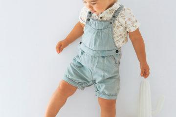 Baby-Mädchen Set aus Bluse und Latzhose bedruckt+bleached