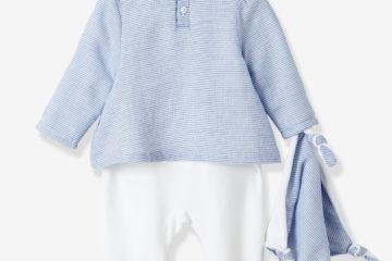 Baby-Set aus Samt-Strampler und Schmusetuch blau