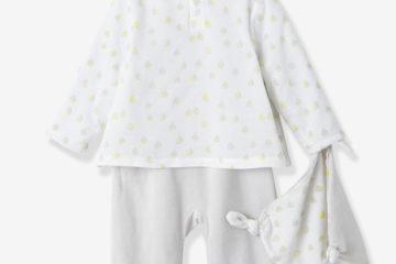 Baby-Set aus Samt-Strampler und Schmusetuch hellgrau