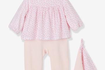 Baby-Set aus Strampler und Schmusetuch rosa