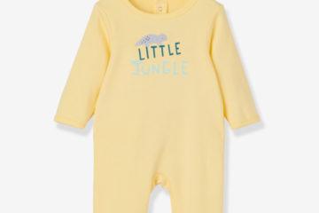 Baby Strampler aus reiner Baumwolle gelb
