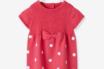 Baby Strickkleid für Mädchen himbeer getupft