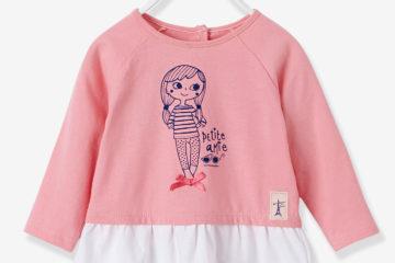 Baby T-Shirt mit Volant rosa bedruckt