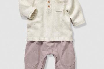 Babypullover und Baby Thermohose wollweiß+erika