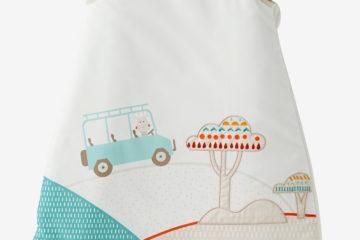 Babyschlafsack mit safari-Motiv weiß bedruckt Größe 105Cm von vertbaudet