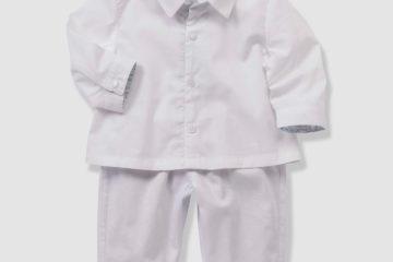 Babyset aus Hemdbody und Hose für Jungen weiß