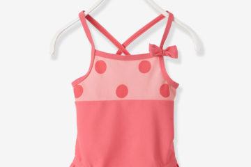 Badeanzug für Babys hellrosa bedruckt
