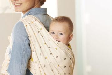 Baumwoll-Tragetuch für Babys wollweiß bedruckt von vertbaudet