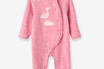 Baumwollstrampler für Babys rosa bedruckt