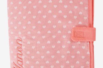 Bestickbare Hülle für das Vorsorgeheft rosa von vertbaudet
