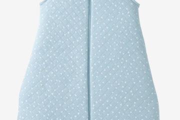 Bestickbarer Babyschlafsack blau dreiecke Größe 105Cm von vertbaudet