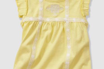 Bestickte Bluse für Babys hellgelb