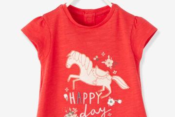 Besticktes Baby T-Shirt für Mädchen himbeer
