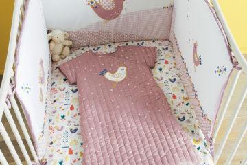 Bettumrandung aus Baumwolle wollweiß/erika Größe 180X40 von vertbaudet
