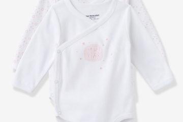 Bio-Kollektion: 2er-Pack Erstlings-Bodys rosa bedruckt