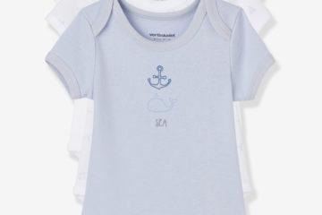 Bio-Kollektion: 3er-Pack Baby Bodys Kurzarm pack blau