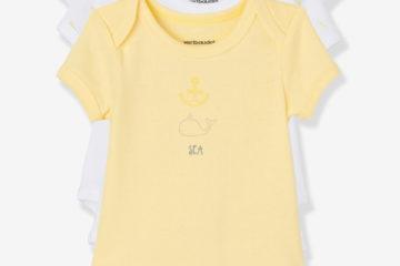Bio-Kollektion: 3er-Pack Baby Bodys Kurzarm pack gelb
