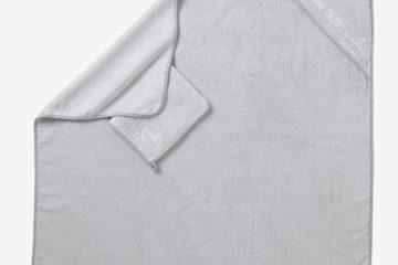 Bio-Kollektion: Badetuch mit Waschhandtuch grau