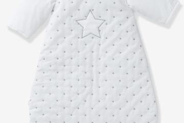 Bio-Kollektion: Schlafsack mit Ärmeln weiß/sterne Größe 85Cm von vertbaudet