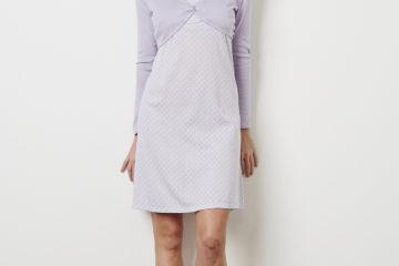 Damen Nachthemd und Bolero vorher/nachher violett bedruckt