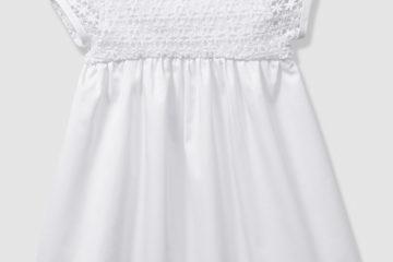 Festliches Baby-Kleid aus Satin und Spitze weiß